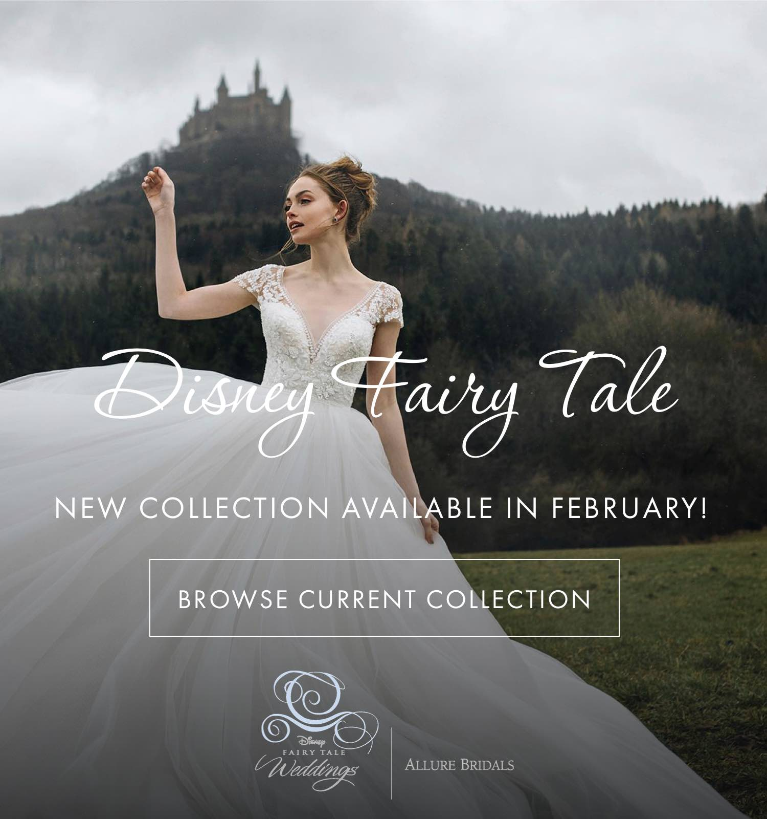 Woman in a white ball gown from the Disney Fairy Tale Weddings collection
